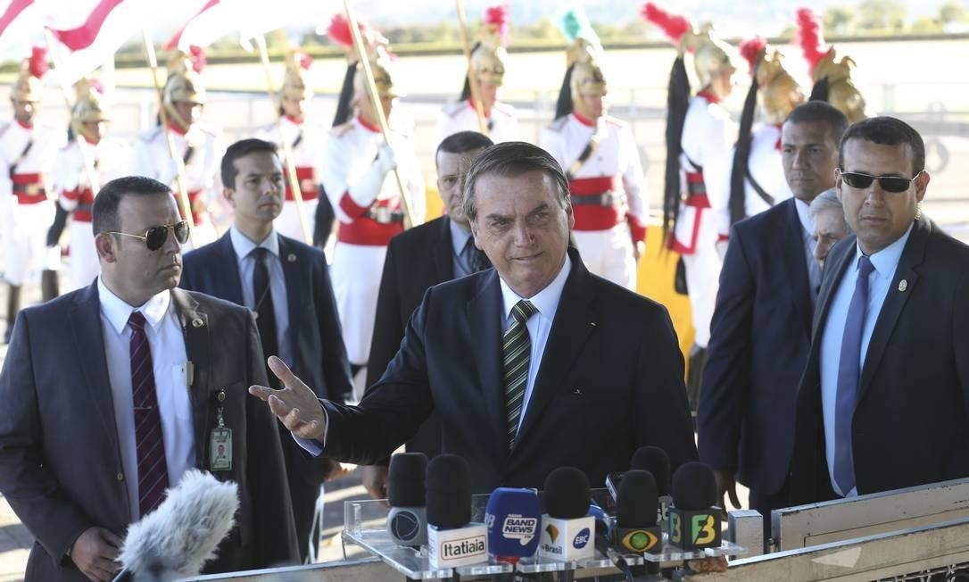 O presidente Jair Bolsonaro alega que não ofendeu a primeira-dama da França, Brigitte Macron Foto: Antonio Cruz / Agência Brasil