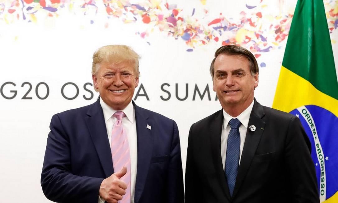 (Osaka - Japão, 28/06/2019) Presidente da República, Jair Bolsonaro, durante Reunião bilateral com o senhor Donald J. Trump, Presidente dos Estados Unidos da América. Foto: Alan Santos / PR Foto: Agência O Globo