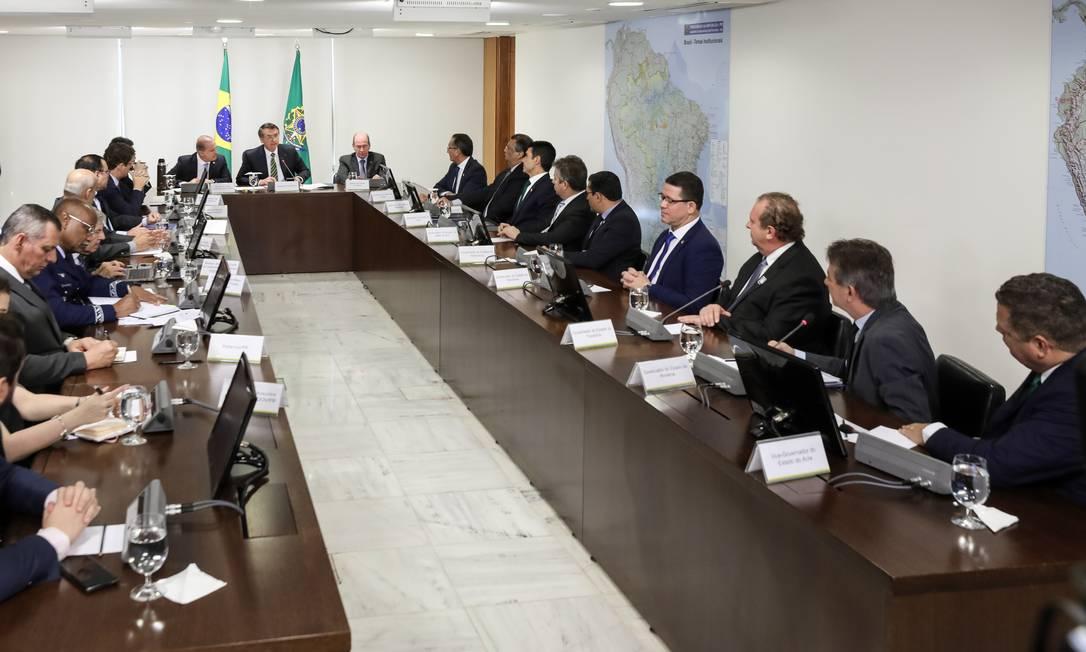 Presidente Jair Bolsonaro em reunião com líderes do governo e governadores da região da Amazônia Legal Foto: Marcos Correa / Agência O Globo