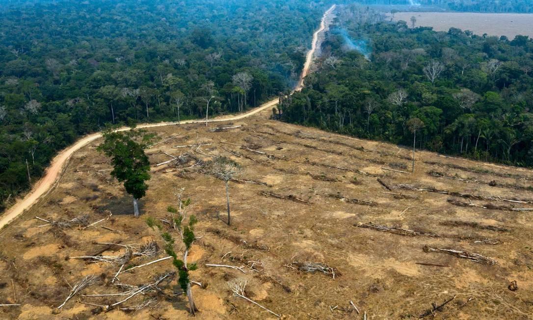 Vista aérea de áreas queimadas da floresta amazônica, perto de Porto Velho, em Rondônia, registrada uma dia depois do presidente Jair Bolsonaro autorizar o envio das Forças Armadas para atuar no combate às queimadas Foto: CARLOS FABAL / AFP / 24/08/2019