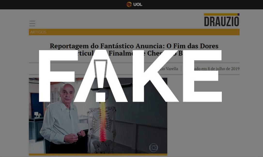 É #FAKE página que simula site de Drauzio Varella para vender produtos contra dores articulares Foto: Reprodução