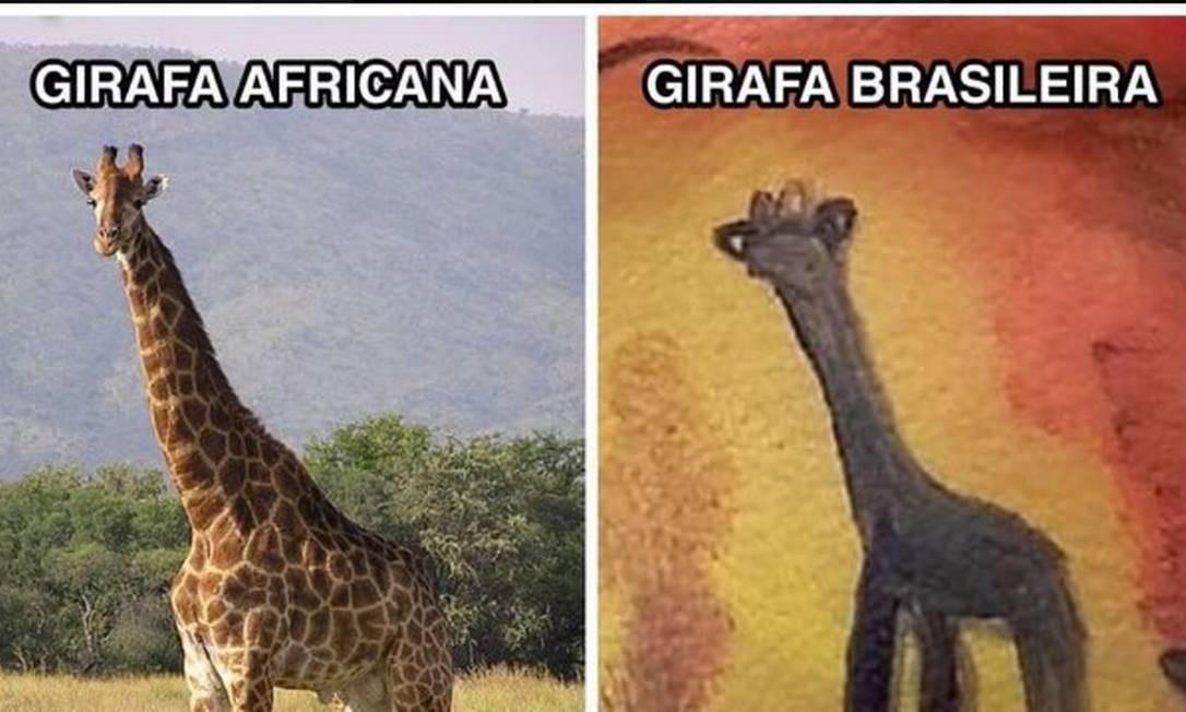 O desenho da girafa foi feito por uma maquiadora e youtuber e virou meme nas redes sociais Foto: Reprodução