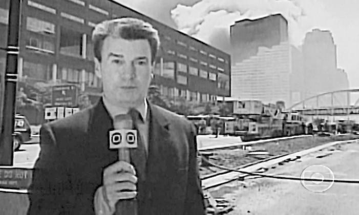 Edney Silvestre na cobertura dos atentados do 11 de Setembro, em Nova York Foto: Divulgação