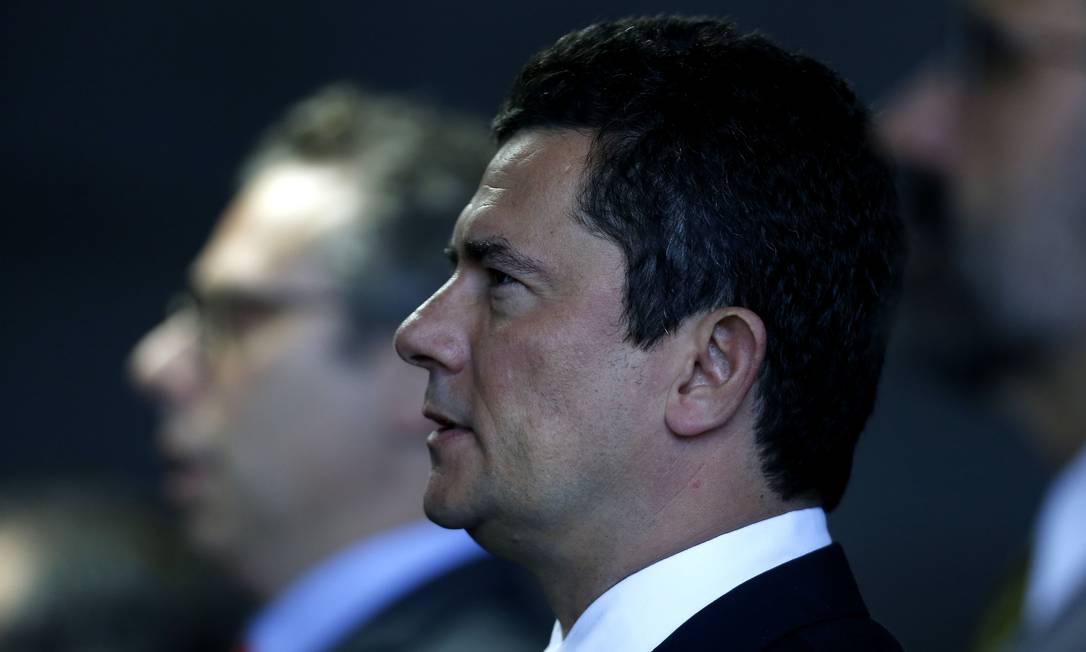 O ministro da Justiça, Sergio Moro, participou de solenidade no Palácio do Planalto Foto: Jorge William / Agência O Globo