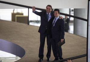 Bolsonaro e Moro em lançamento de projeto de segurança Foto: Daniel Marenco / Agência O Globo