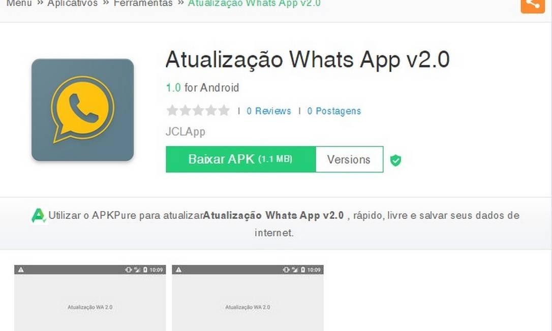 Malware se apresenta como aplicativo de atualização do WhatsApp Foto: Reprodução