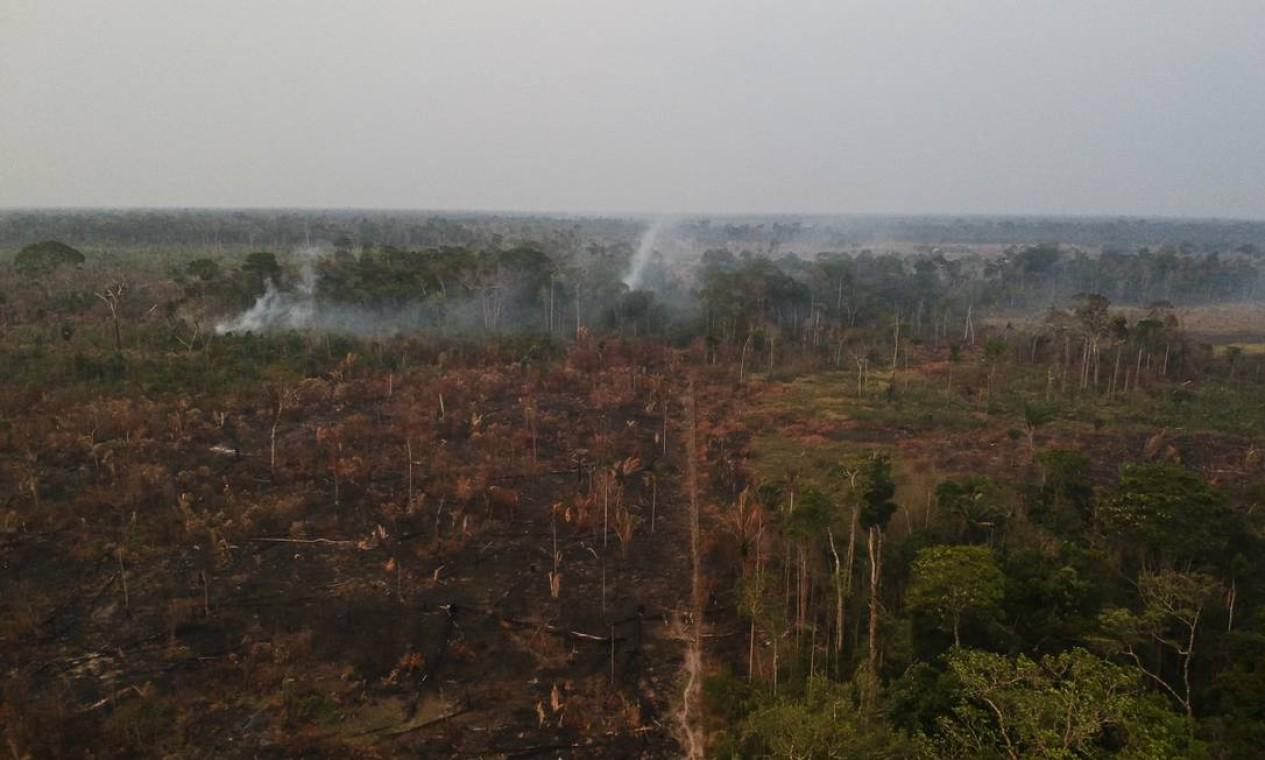 A destruição causada pelo fogo na floresta próximo da reserva Uru-Eu-Wau-Wau - 29/08/2019 Foto: Gabriel Monteiro / Agência O Globo