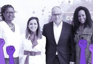 Ana Carolina Querino, representante interina da ONU Mulheres Brasil; Daniela Grelin, diretora executiva do Instituto Avon; José Vicente Marino, presidente da Avon e Mafoane Odara, gerente do Instituto Avon, no evento que marcou coalizão de combate à violência contra a mulher. Foto: Arte sobre foto de divulgação