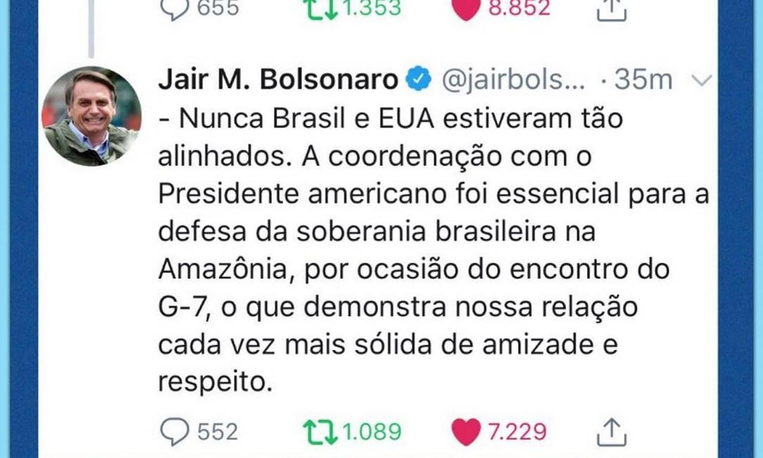 O deputado postou nas redes sociais o print com comentário do pai, presidente Jair Bolsonaro, sobre a viagem dele aos EUA. Segundo o presidente, o tema principal da reunião com Trump é a Amazônia Foto: Redes sociais