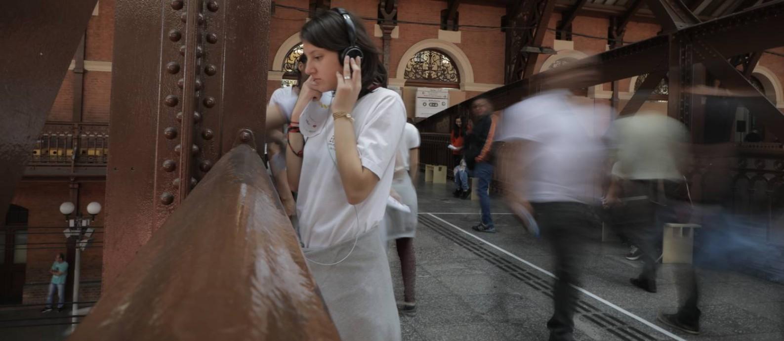 Estação da Luz: edifício que abriga o Museu da Língua Portuguesa é palco de programação educacional para o público e moradores da região Foto: Camila Piccolo / Divulgação