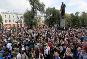 Manifestantes reunidos em Moscou Foto: TATYANA MAKEYEVA / REUTERS