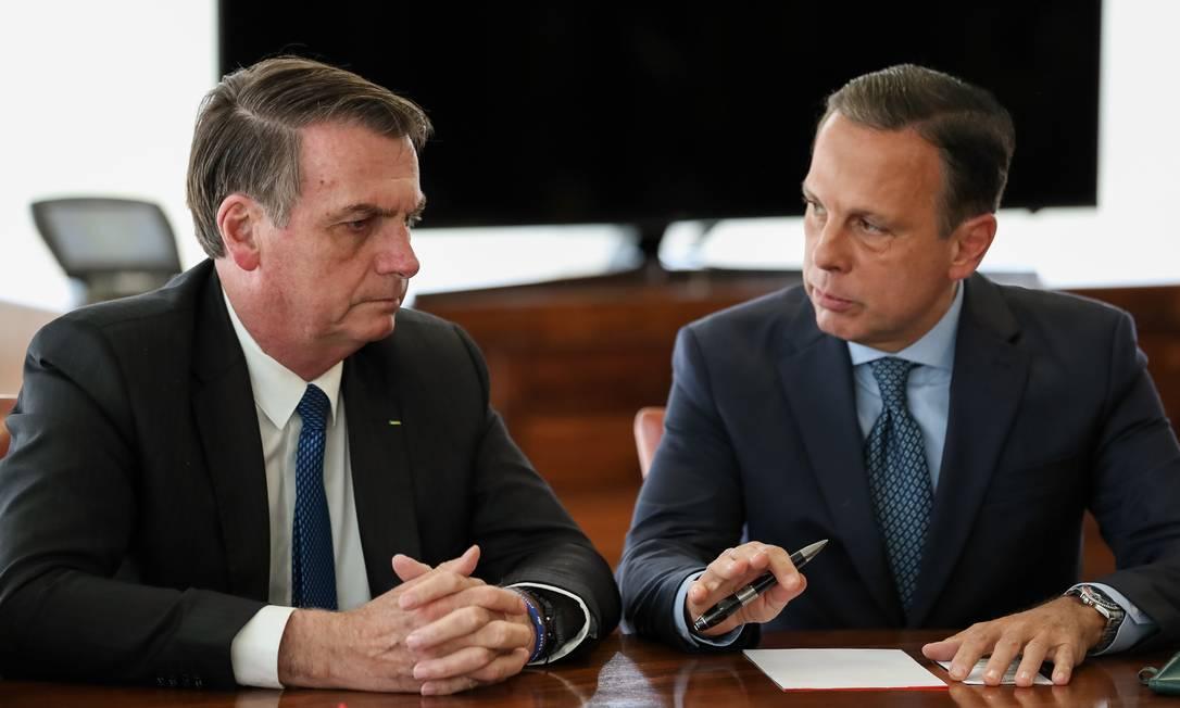 O presidente Jair Bolsonaro e o governador de SP, João Doria Foto: Marcos Corrêa/PR