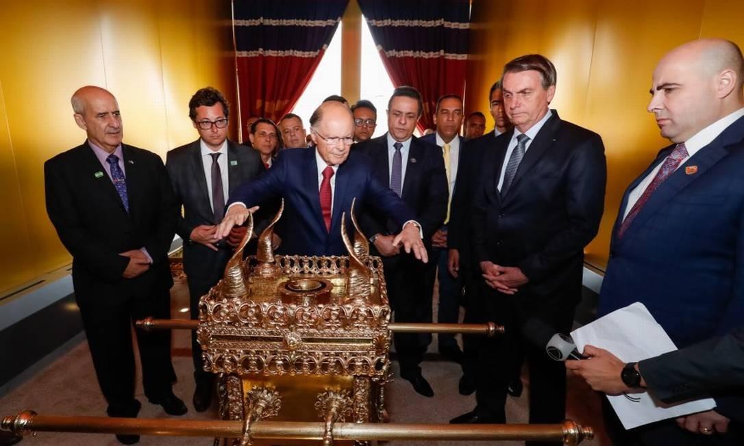 O presidente Jair Bolsonaro durante visita ao Templo de Salomão. Foto: Alan Santos/PR / Agência O Globo