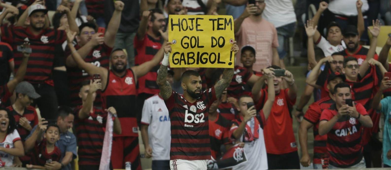 RI Rio de Janeiro (RJ) 01/09/2019 Flamengo x palmeiras brasileirao gabigol comemora seu gol Foto: Antonio Scorza / Agencia O Globo Foto: Antonio Scorza / Agência O Globo