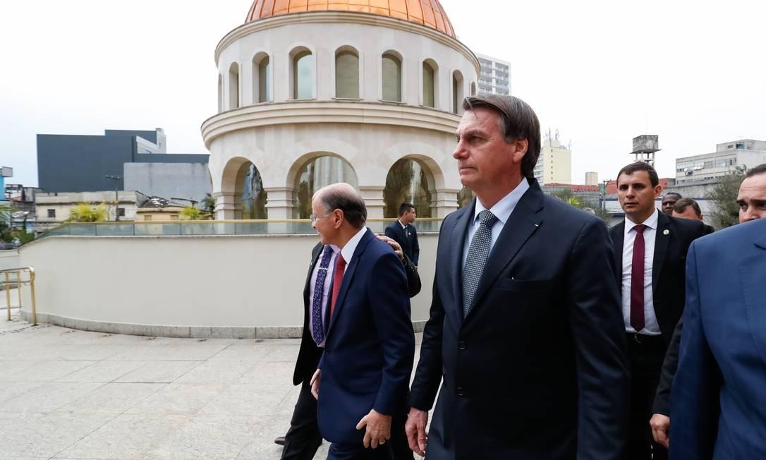O presidente Jair Bolsonaro durante visita ao Templo de Salomão Foto: Alan Santos / Presidência da República