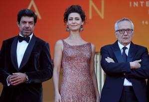 O ator italiano Pierfrancesco Favino, a brasileira Maria Fernanda Candido e o diretor Marco Bellocchio na estreia do filme