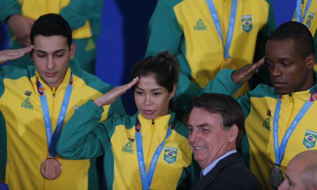 Bolsonaro participa da recepção aos atletas medalhistas dos Jogos Pan-Americanos de Lima 2019 Foto: Jorge William / Agência O Globo / 16/08/2019