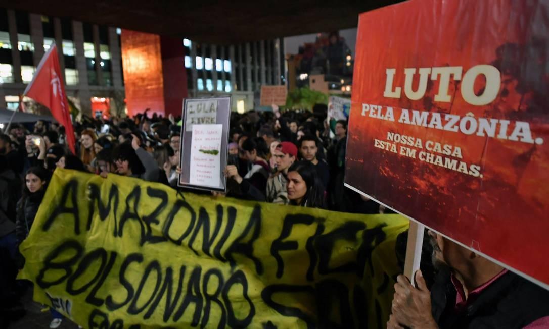 Manifestação, em São Paulo, contra queimadas e desmatamento na Amazônia, que motivaram protestos em diversos países do mundo Foto: NELSON ALMEIDA / AFP / 23/08/2019