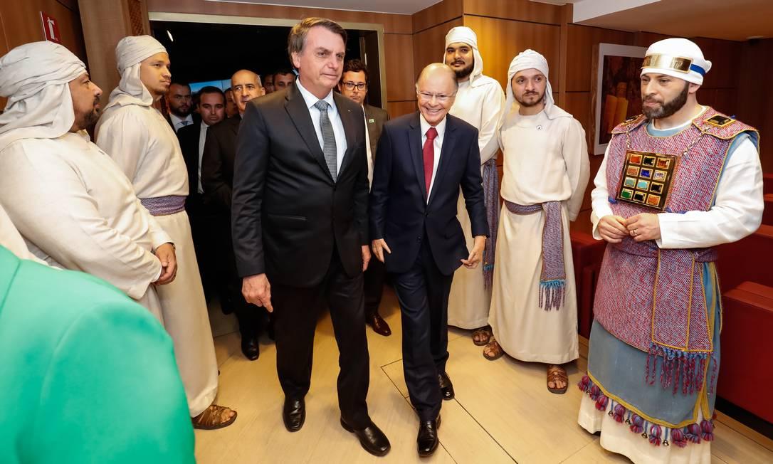 O presidente Jair Bolsonaro visita o Templo Salomão, em São Paulo, e é na recepcionado pelo bispo Edir Macedo Foto: Alan Santos / PR / 01/09/2019