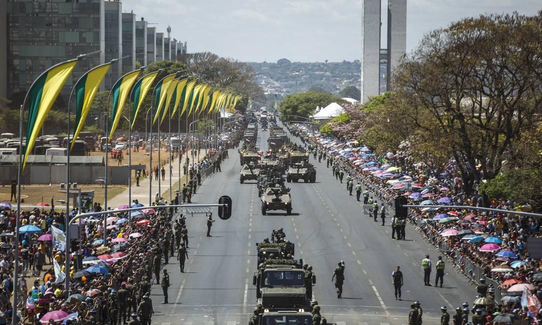 Desfile de 7 de setembro em Brasilia, em 2018. Foto: Daniel Marenco / Agência O Globo