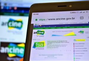 Detalhe do site da Ancine Foto: A7 Press / Agência O Globo