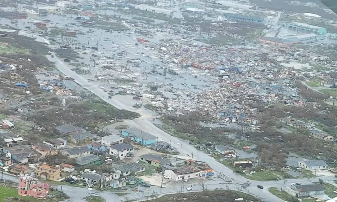 Imagens aéreas mostram a destruição em Bahamas depois da passagem do furacão Dorian, que agora segue para a costa dos EUA Foto: Social Media / TERRAN KNOWLES/OUR NEWS BAHAMAS