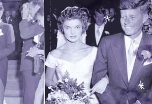 Jacqueline e John Fitzgerald Kennedy deixando a Igreja após a cerimônia de seu casamento Foto: Arquivo