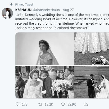 Post de estudante de marketing viralizou no Twitter contando a história da criadora do vestido de noiva de Jacqueline Kennedy: Ann Lowe Foto: reprodução