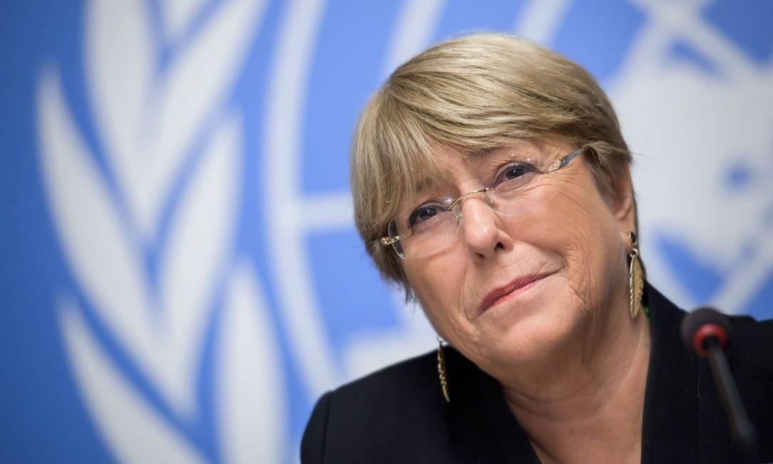 Alta comissária de Direitos Humanos da ONU, Michelle Bachelet, Foto: FABRICE COFFRINI / AFP