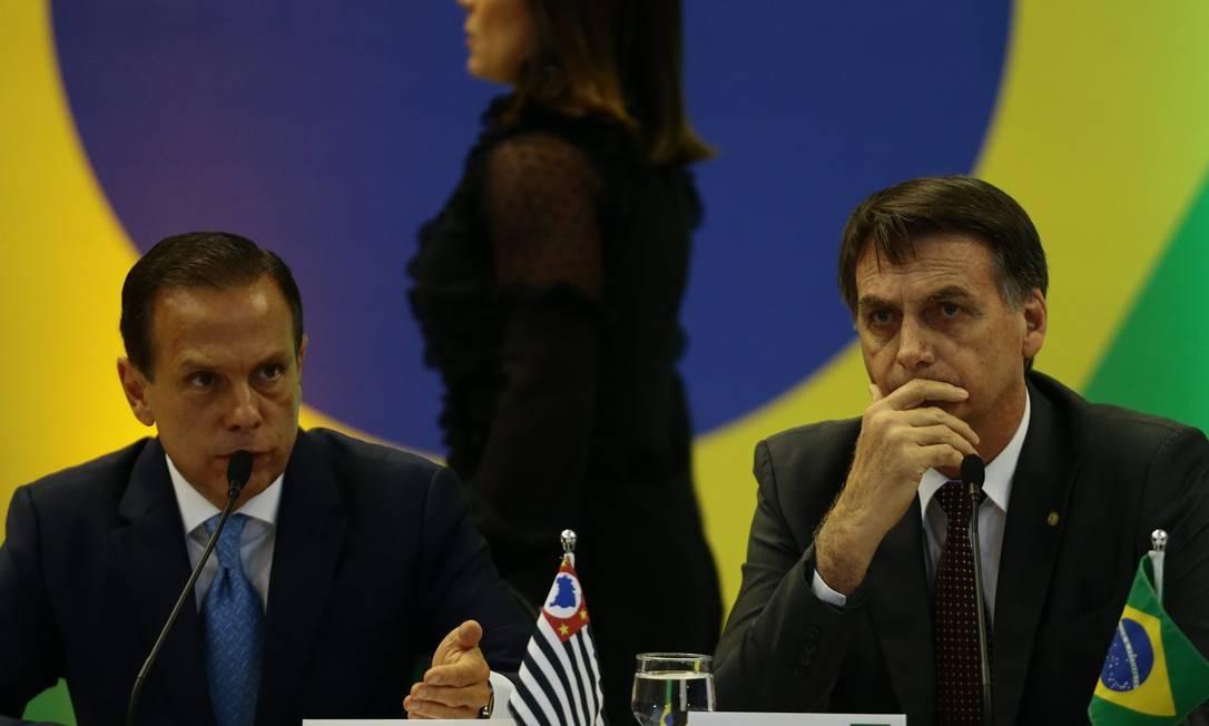 """Bolsonaro chegou a dizer que o governador de SP """"mamou nas tetas"""" do governo, ao financiar com dinheiro do BNDES seu jato particular, e que o governador é uma """"ejaculação precoce. Foto: Jorge William / Agência O Globo 21/11/2018"""