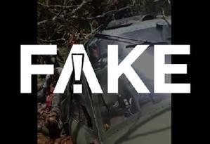 É #FAKE que vídeo mostre helicóptero derrubado na fronteira com a Venezuela Foto: Reprodução
