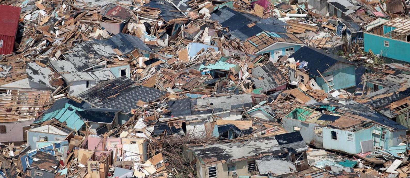 Destruição causada pelo furacão Dorian na ilha de Grande Abaco, nas Bahamas Foto: Scott Olson / Getty Images