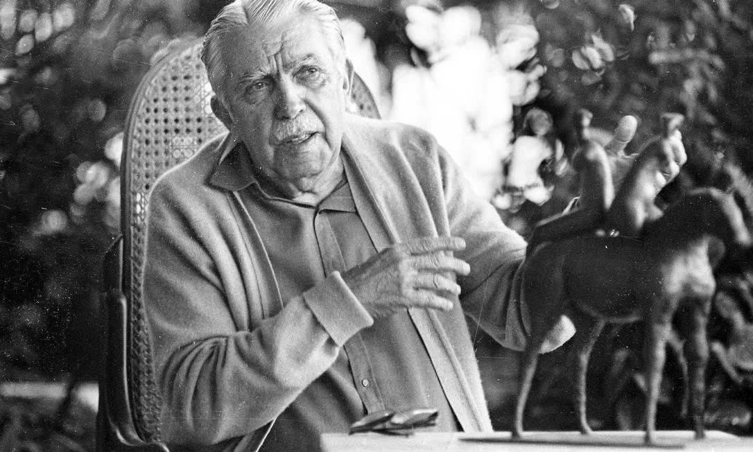 RJ 26/07/1985. Rubem Braga (Escritor). Joaquim Nabuco / Agência O Globo. Negativo : 85-11439. Foto: Joaquim Nabuco / Arquivo