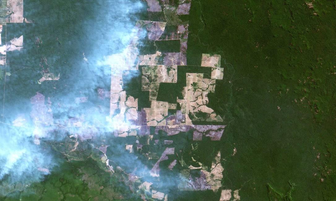 Imagem do sistema de vigilância usado pelo Inpe mostra queimadas e suas cicatrizes em Altamira, no Sul do Pará Foto: Oton Barros (DSR/OBT/INPE) / Agência O Globo