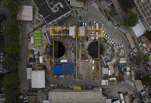 Vista área da obra da estação da Gávea do Metrô em 23/08/2016 Foto: Daniel Marenco / Agência O Globo