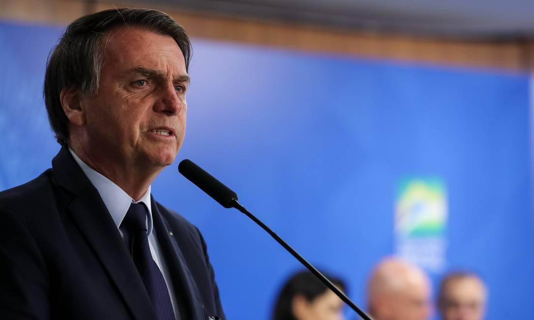 O presidente Jair Bolsonaro em cerimônia no Palácio do Planalto Foto: Marcos Corrêa/PR