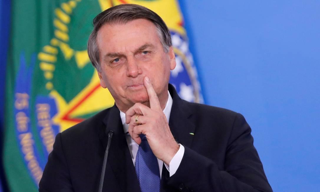 O presidente Jair Bolsonaro em solenidade no Palácio do Planalto Foto: Adriano Machado / Reuters