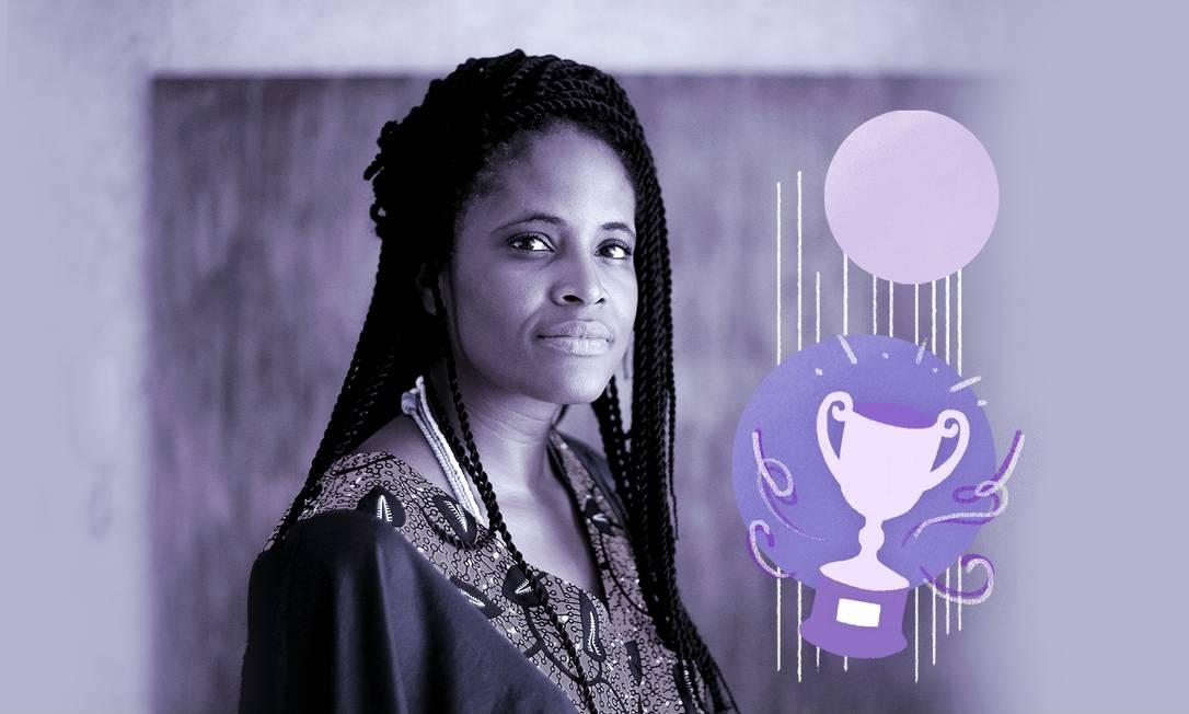 A filósofa e escritora Djamila Ribeiro Foto: Arte de Ana Luiza Costa sobre foto de Marcos Alves