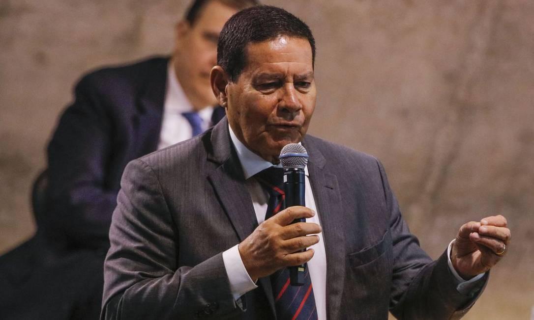 O vice-presidente Hamilton Mourão, durante evento na Fundação Getúlio Vargas, no Rio de Janeiro Foto: Tomaz Silva/Agência Brasil/15/07-2019