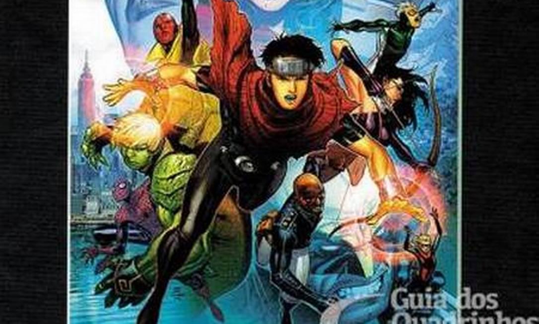 """""""Vingadores: A cruzada das crianças"""". História envolve dezenas de personagens da Marvel, entre eles dois membros dos Jovens Vingadores, Wiccano e Hulkling, que são namorados e aparecem se beijando em um painel Foto: Reprodução"""