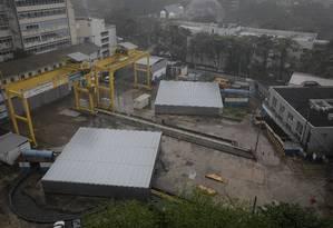 Canteiro de obras da estação da Gávea Foto: Brenno Carvalho / Agência O Globo
