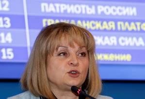 Chefe da Comissão Eleitoral Central, Ella Pamfilova foi atacada em casa nos arredores de Moscou. Líder da oposição, Alexey Navalny, disse que o caso foi apenas uma forma do governo distrair a opinião pública Foto: Sergei Karpukhin / REUTERS