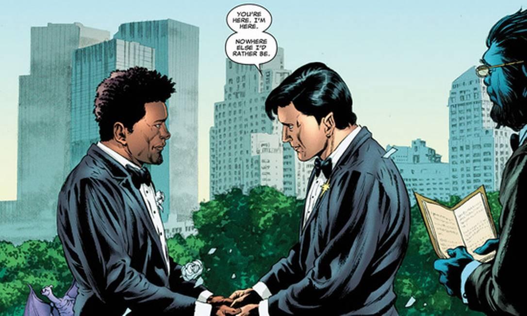 O casamento dos personagens Jean-PaulBeaubier e KyleJinadu Foto: Reprodução