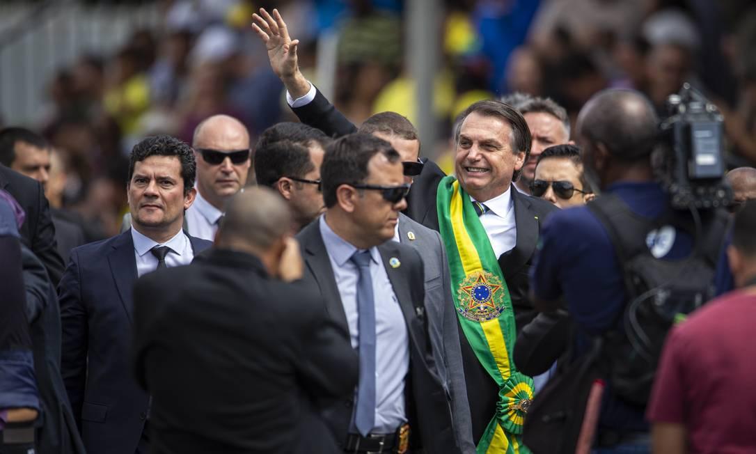 O presidente Jair Bolsonaro durante desfile de 7 de setembro Foto: Daniel Marenco / Agência O Globo
