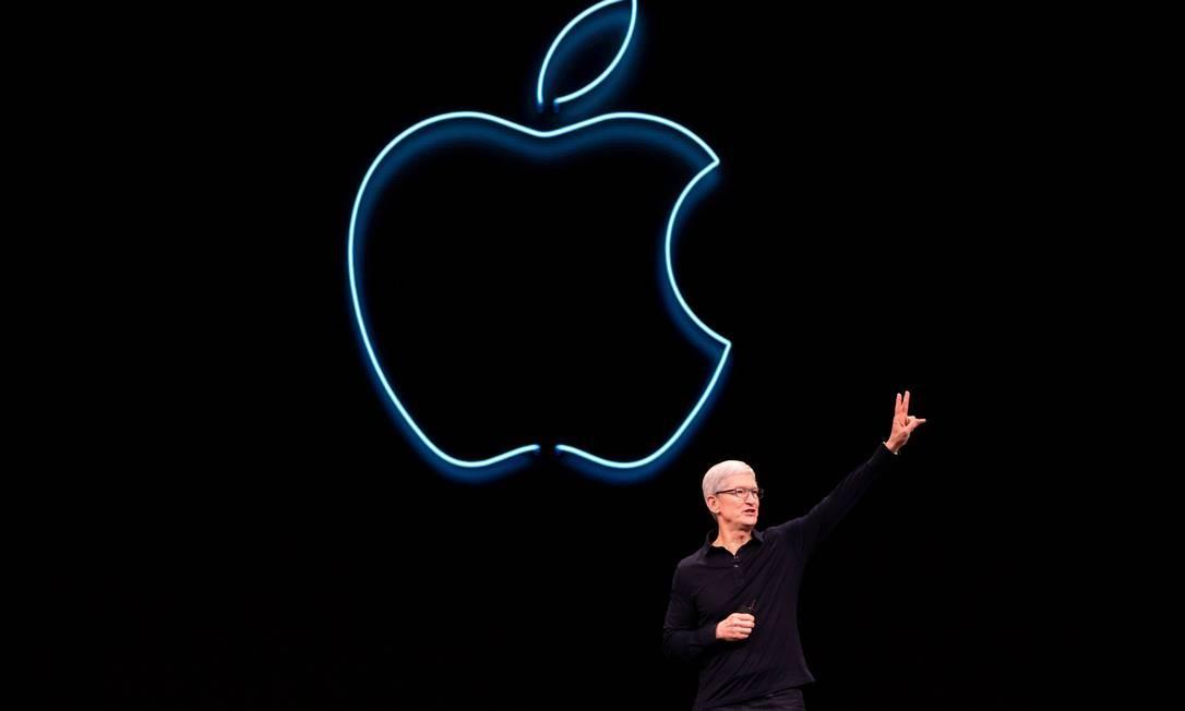 Novos iPhones serão apresentados pelo diretor executivo da Apple, Tim Cook Foto: Brittany Hosea-Small / AFP