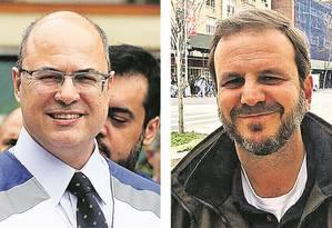 O governador Wilson Witzel, do PSC (à esquerda) e o ex-prefeito do Rio, Eduardo Paes, do DEM Foto: Fabiano Rocha / Arquivo pessoal