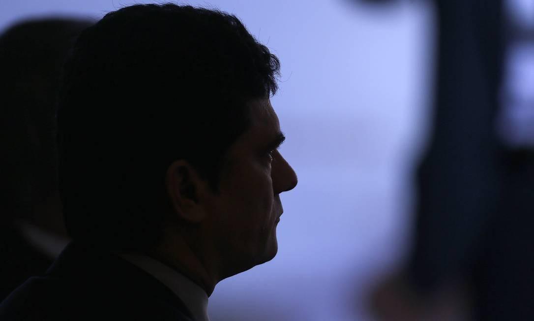 O ministro Sérgio Moro durante evento em Brasília Foto: Jorge William / Agência O Globo