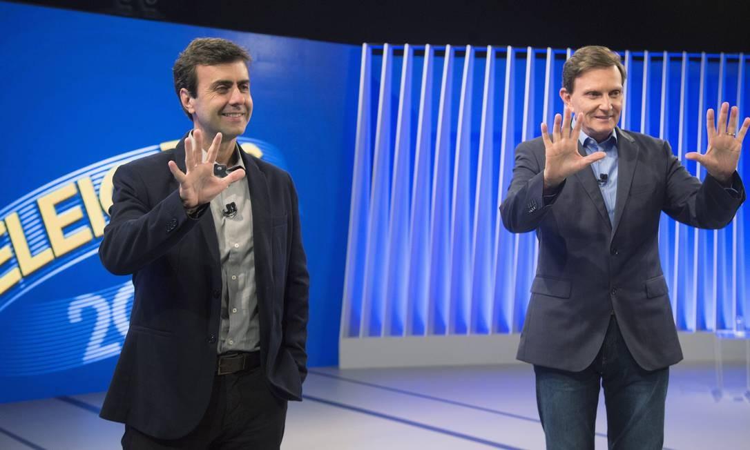 Crivella e Freixo em debate eleitoral antes do pleito de 2016 Foto: Antonio Scorza / Agência O Globo