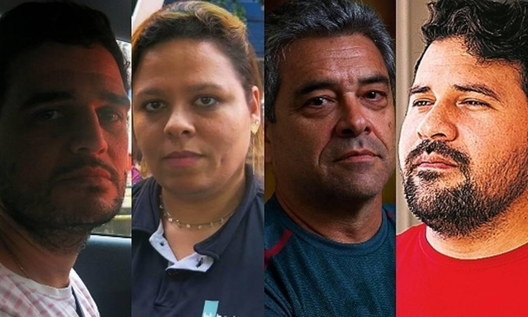 Pragmatismo: Entrevistados pelo GLOBO, Diego Barenco, Emanuelle Vasconcelos, Marco Marcondes e Joselio Barreto demonstram apoio a Bolsonaro mesmo com críticas ao governo Foto: Agência O Globo