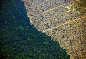 Área desmatada da Amazônia, próxima a Porto Velho, em Rondônia Foto: CARL DE SOUZA / AFP